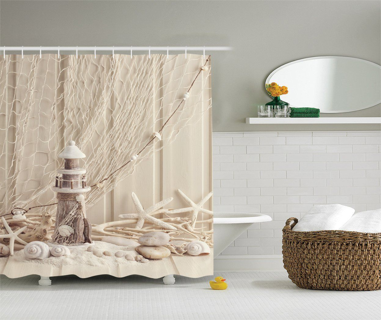 starfish beach curtain i envy this shower pin cottage idea themed love curtains home