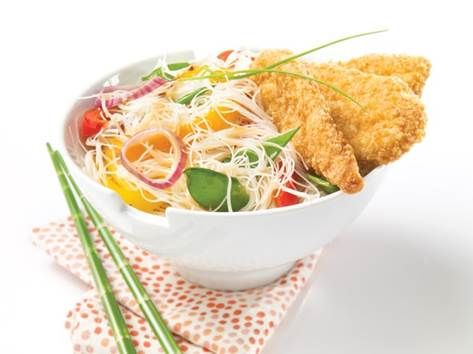 Thai-Style Rice Vermicelli and Gluten-Free Crunchy Breaded Chicken Breast Strips « GF Recipes