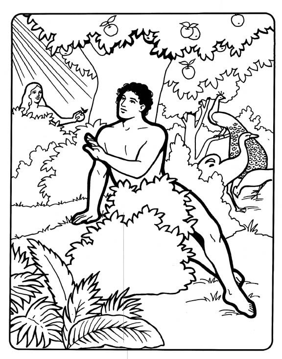 Adam And Eve In Eden Coloring Page With Images Coloring Pages