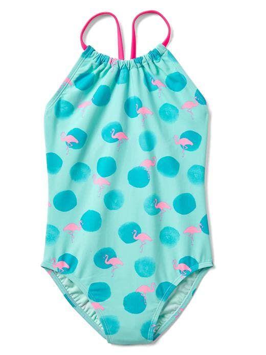 54e98564cf337 Gap Girls Dotty Flamingo Swim One-Piece Clear Ocean Size XXL ...