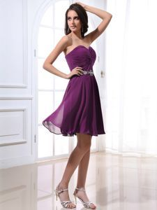 0a587e8775f Purple Sweetheart Cocktail Dress For Celebrity with Beads and Ruches ...
