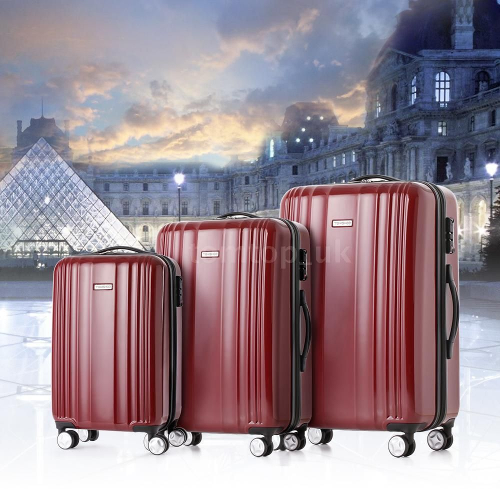3 Pcs Luggage Suitcase Set 4 Wheels Spinner Red ABS Trolley Bag Case On Hand