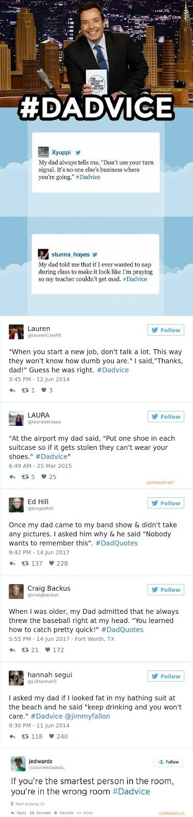 Top 8 Funniest Tweets About #Dadvice ft. Jimmy Fallon