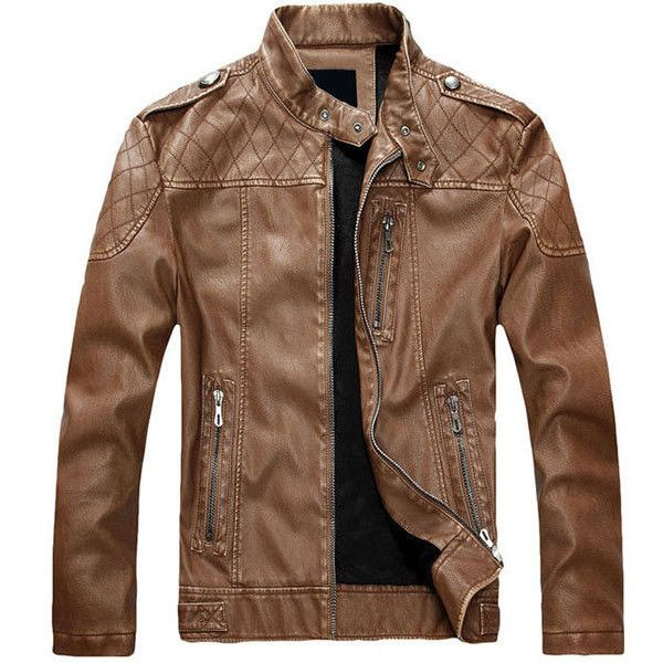 European American Style Thicken Warm PU Leather Jacket Motorcycle Coat... (225 BRL) ❤ liked on Polyvore featuring men's fashion, men's clothing, men's outerwear, men, men's jackets, yellow, mens clothing, slim fit mens clothing, men's apparel and mens slim fit outerwear