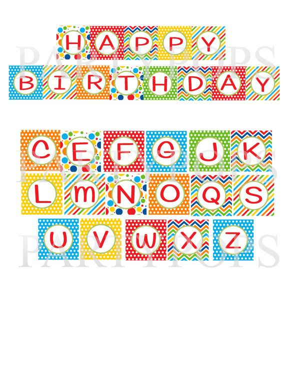 Primary Happy Birthday Printable Party Banner, Letter, Alphabet - celebration letter