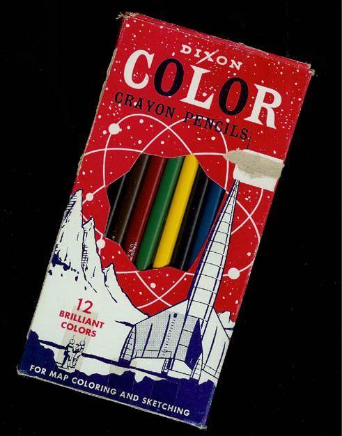Vintage Dixon Color Crayon Pencils Drawing Coloring Graphic Arts Packaging Design Mixed Media Artist Craft Pencil Crayon