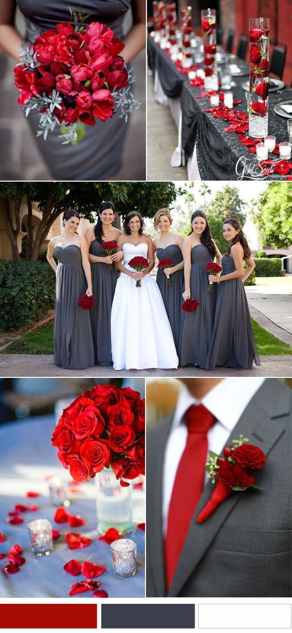Clic Red And Grey Wedding Color Inspirations