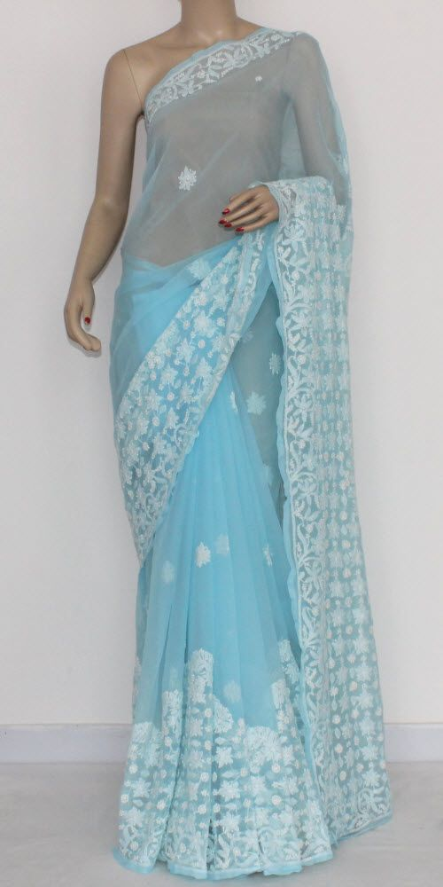 403418dd9b304d Sky Blue Designer Hand Embroidered Lucknowi Chikankari Saree (With Blouse -  Georgette) 14427