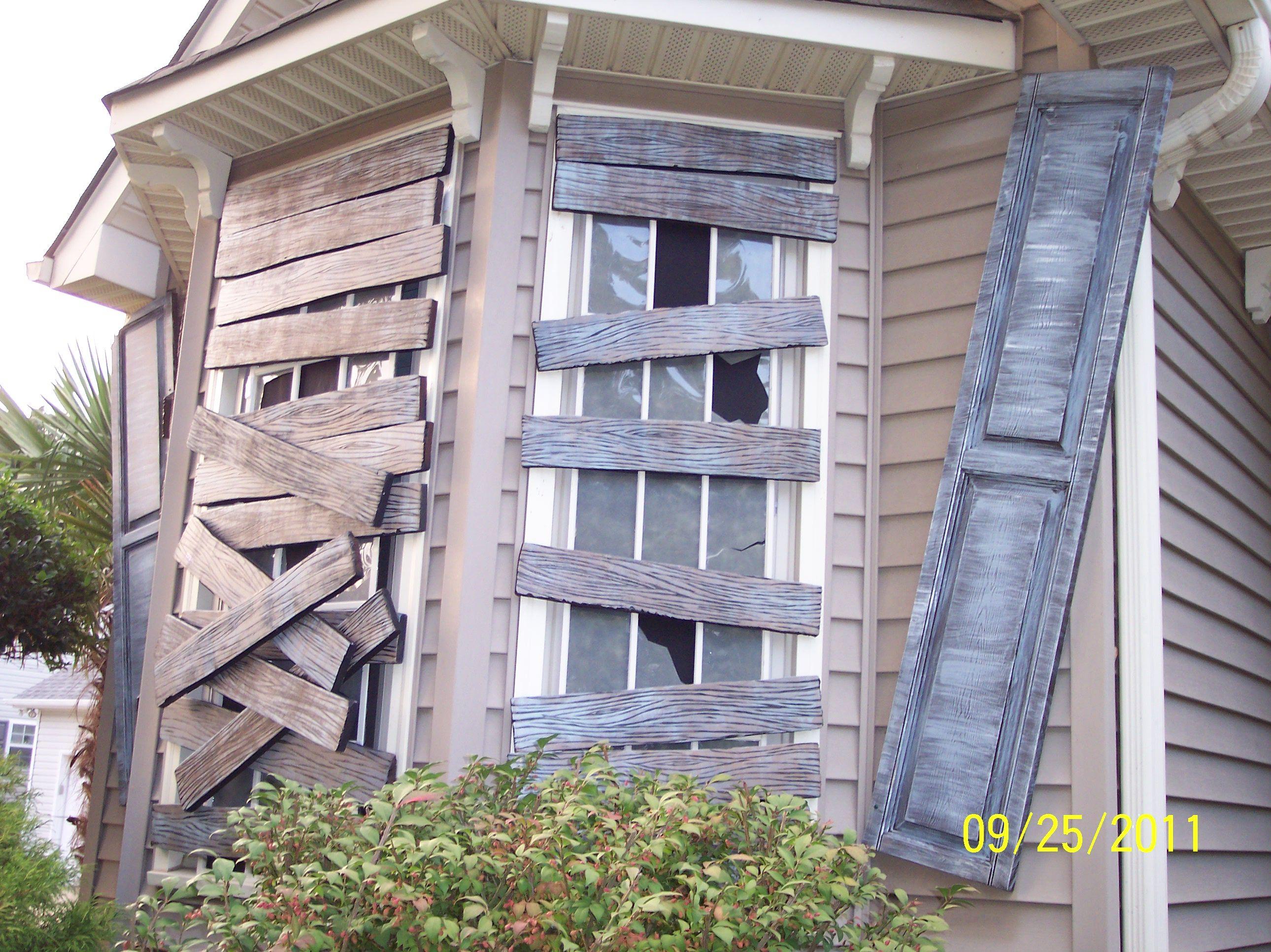 Boarded Windows Faux Wooden Boards, Faux Broken Glass