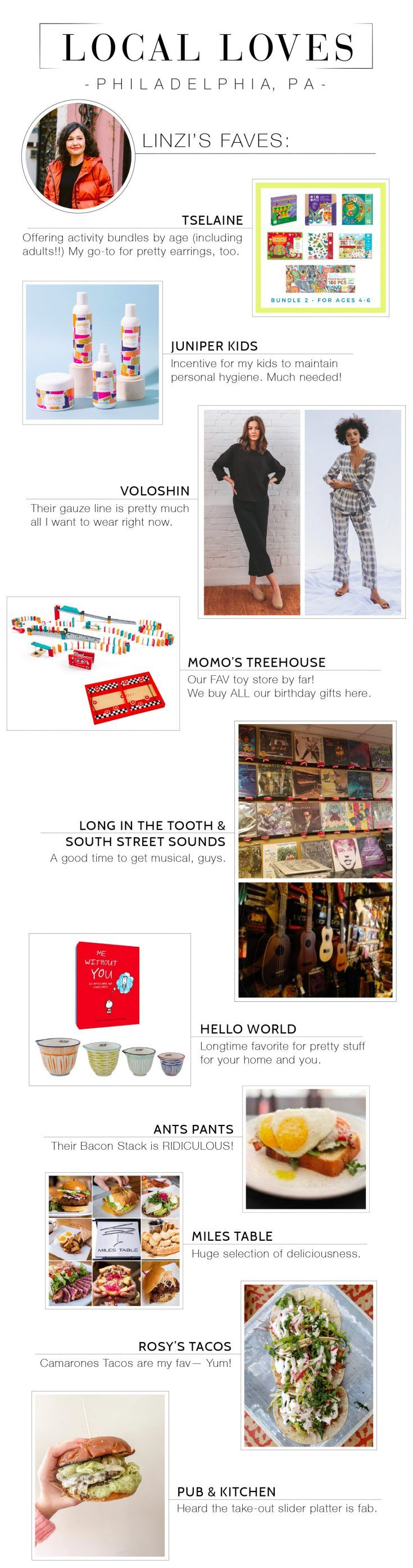 Local LOVE Philly: Shop Linzi's Favorite Small Businesses   Every day is small business Saturday. Looking to support local? These fab Philly shops are taking online orders, offering gift cards or worth shopping in the future.   #TheMomEditStyle #TheMomEditHome #PhiladelphiaSmallBusiness #LocalLovePhiladelphia #Voloshin #MomosTreehouse #JuniperKids #LongInTheTooth #SouthStreetSounds #HelloWorld #MilesTable #RosysTacoBar #PubKitchen