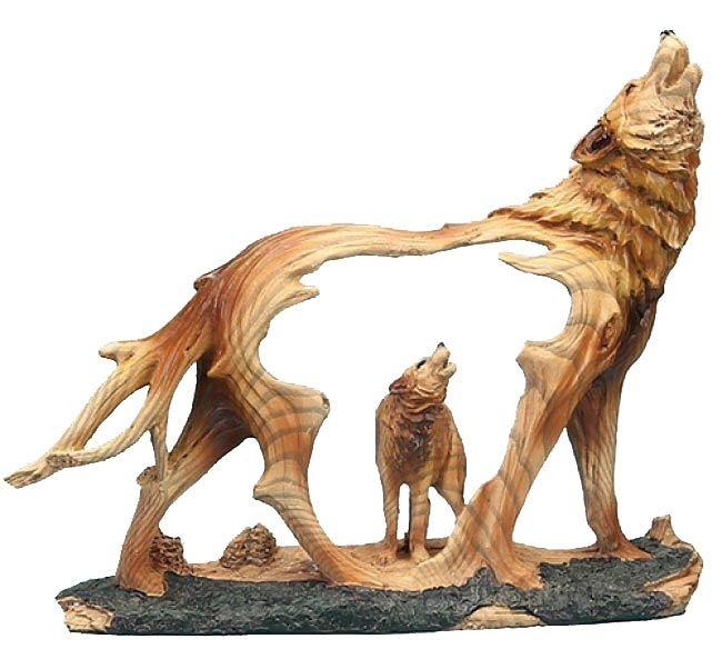 Howling wolf carved sculpture resin and woods