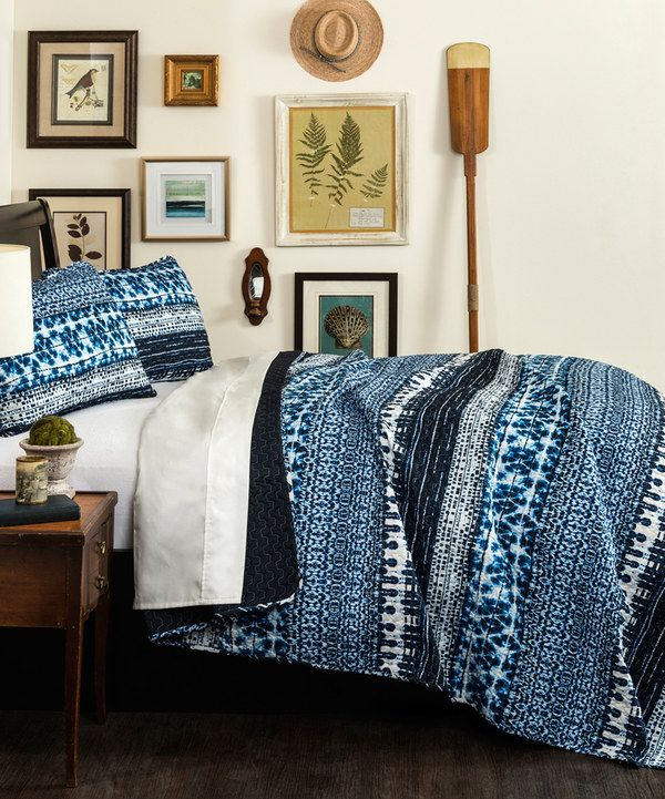 Look at this Navy Denim Tie-Dye Quilt Set on #zulily today!