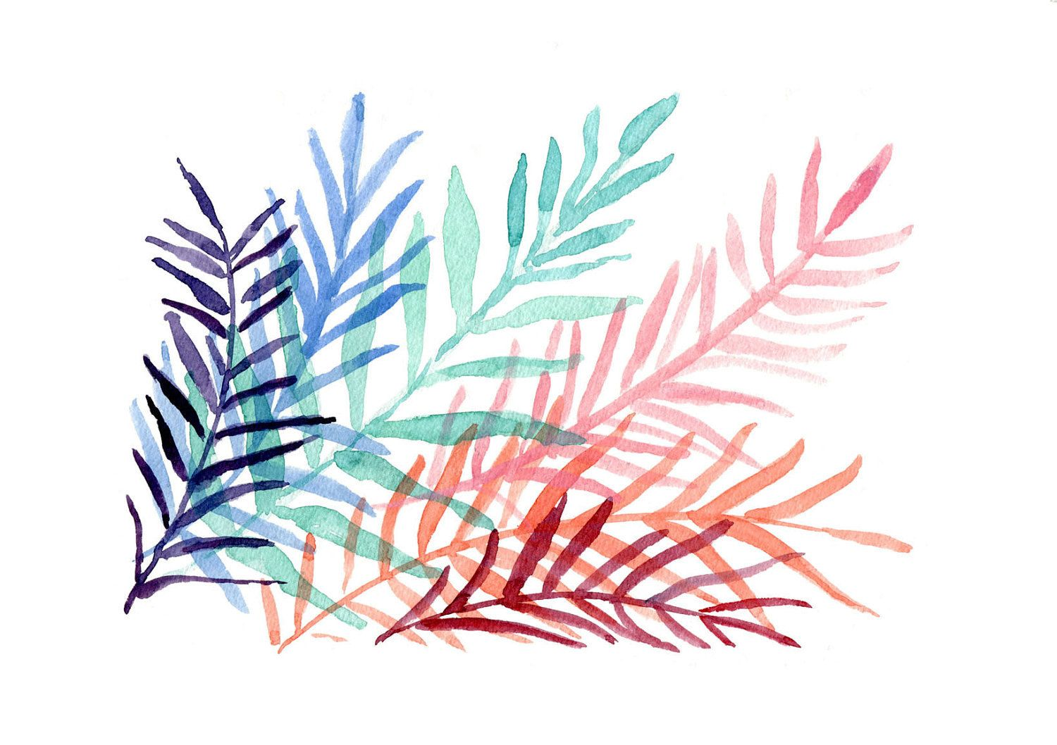This would be perfect to make my living room and kitchen color palettes flow!  watercolor painting of ferns leaves, turquoise, purple, blue, pink, orange
