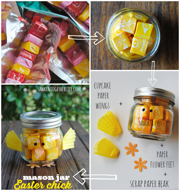 Top 5 easter diys to wow your family friends cupcake papers how to make a mason jar easter chick for each chick gather one small mason jar yellow starburst or skittles permanent black marker one yellow cupcake negle Images