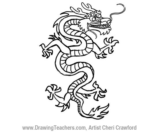 Dragon Head Outline How To Draw A Chinese Dragon Drawing