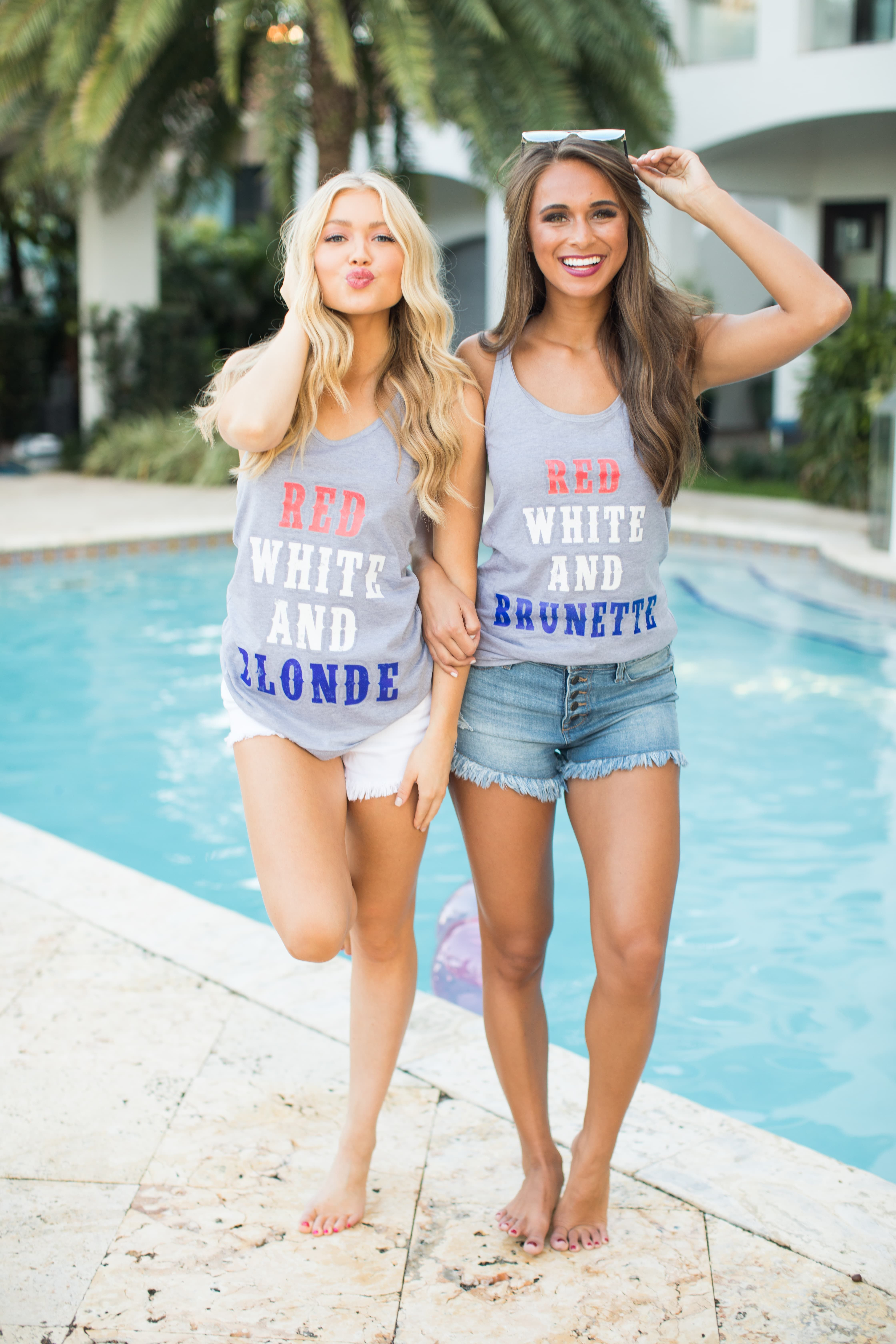 Red White And Blonde Graphic Tank Blonde Brunette Best Friends