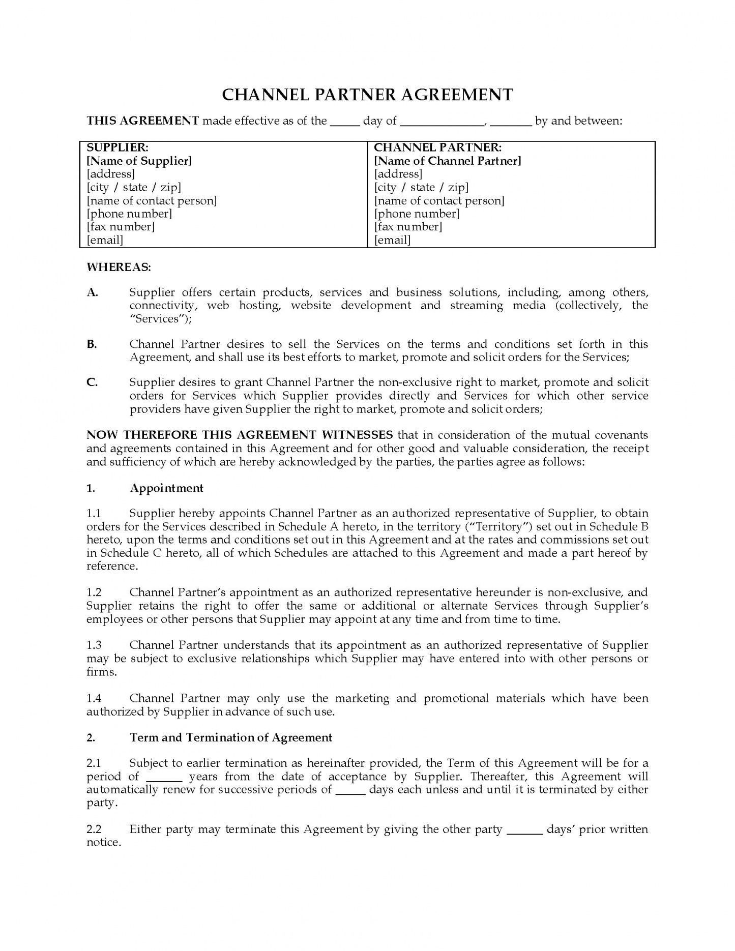 Get Our Example Of Channel Partner Agreement Template Agreement Being A Landlord Channel