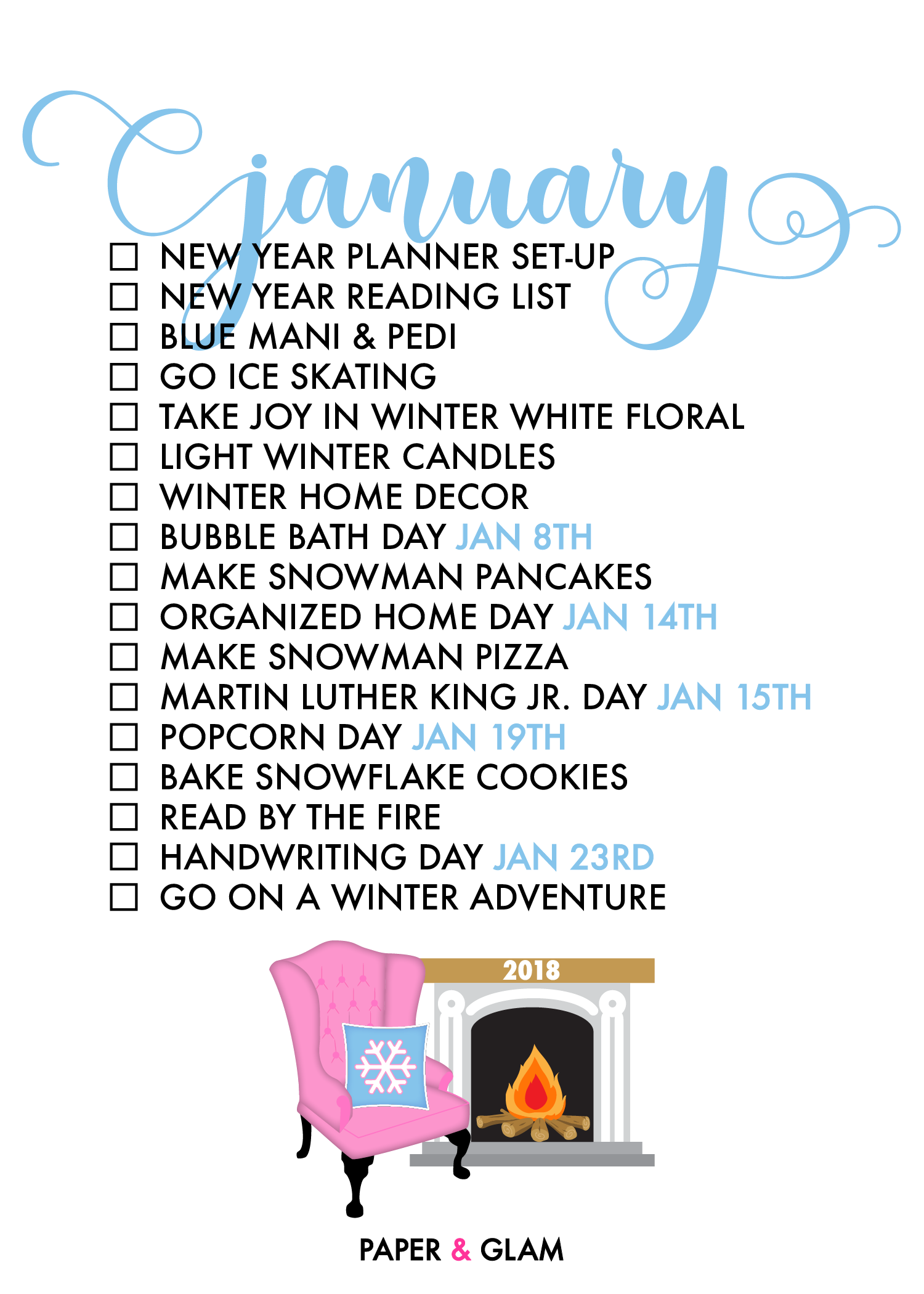 January Seasonal Living List