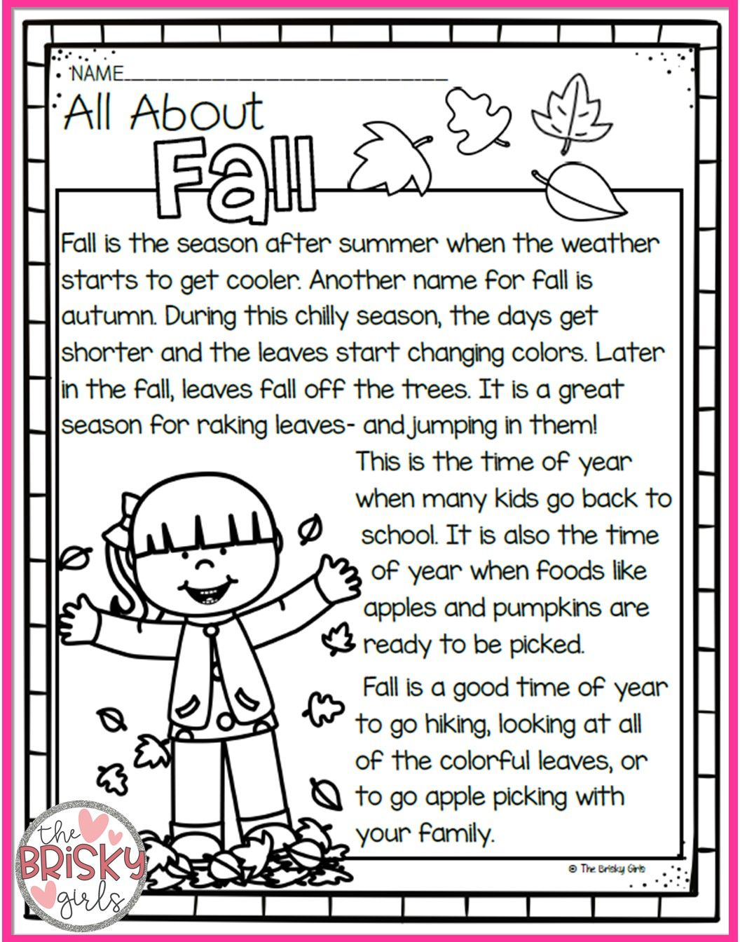 The Four Seasons Reading Passages (Take Home Packet)   Seasons worksheets [ 1344 x 1056 Pixel ]
