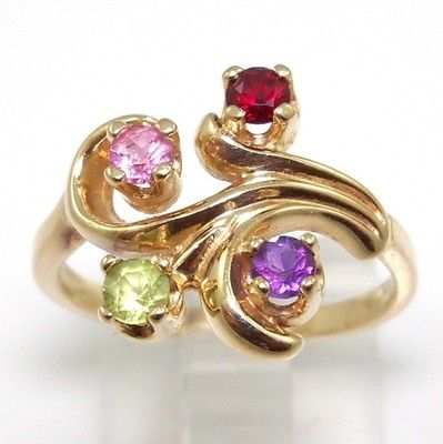 Solid 14K Yellow Gold Multi Color Amethyst/Peridot/Garnet/Topaz Ring