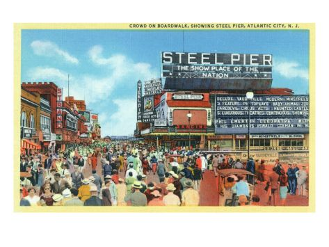 Atlantic City New Jersey Steel Pier View From Boardwalk Art Print By Lantern Press Atlantic City Boardwalk Art City