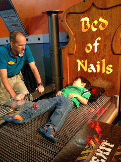 WonderWorks Museum on I-Drive in Orlando has over 100 fun and entertaining science focused exhibits. There are over 3,500 sharp nails in the Bed of Nails.
