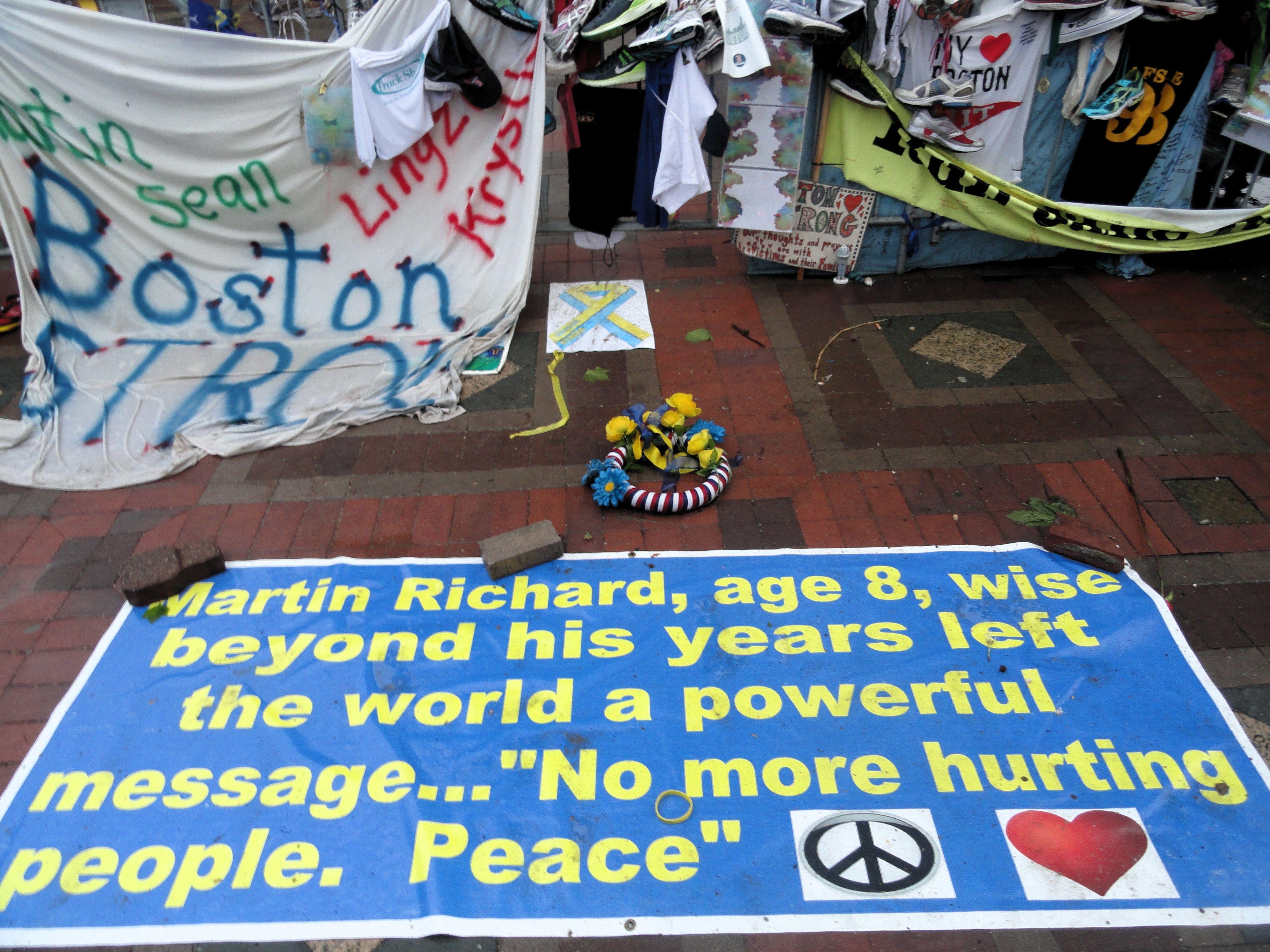 Mémorial spontané pour les attentats de Boston