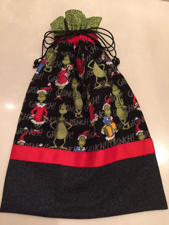 the grinch cartoon character children gift wrap christmas gift bag cotton fabric large cloth bag drawstring bag birthday dr seuss