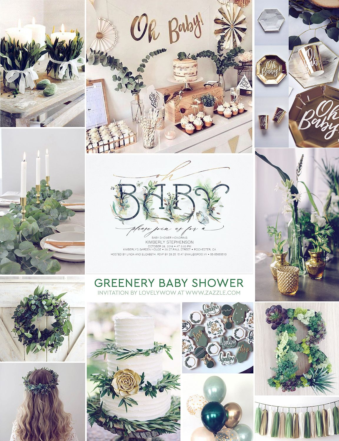 Oh Baby Greenery Baby Shower Gender Neutral Invitation Zazzle