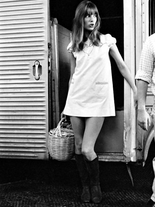 Jane Birkin with ever-present basket, 1960s.