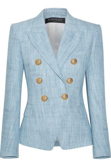 Light Blue Cotton Blend Tweed Blazer Balmain Tweed Blazer Blazer Balmain Jacket