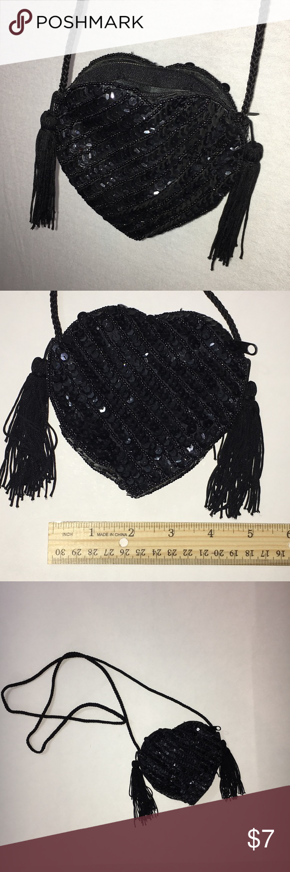 """Black sequined heart tassel crossbody handbag Black sequined heart shaped crossbody Handbag Purse with tassels. Excellent condition. Zipper closure, satin lined interior. Fully sequined on all sides. Perfect for a night out or Valentine's Day dinner. Measures approximately 4.5"""" length, 4.5"""" height, .75"""" width. Fabric cord strap drop measures approximately 21"""" length. Smoke free home. (A7) Bags Crossbody Bags"""