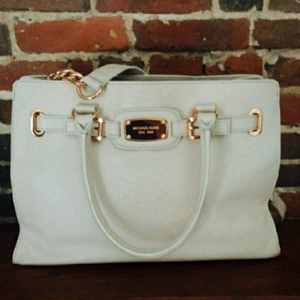 Like New Mk Leather Off White Tote Bag
