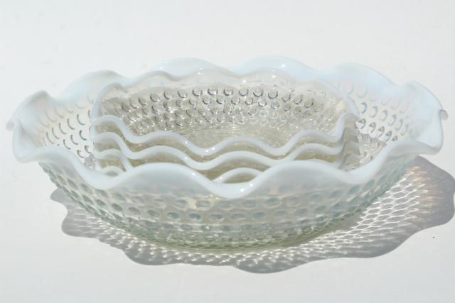 Just Vintage Fenton Moonstone Opalescent Hobnail Glass Bowls Art Glass North American