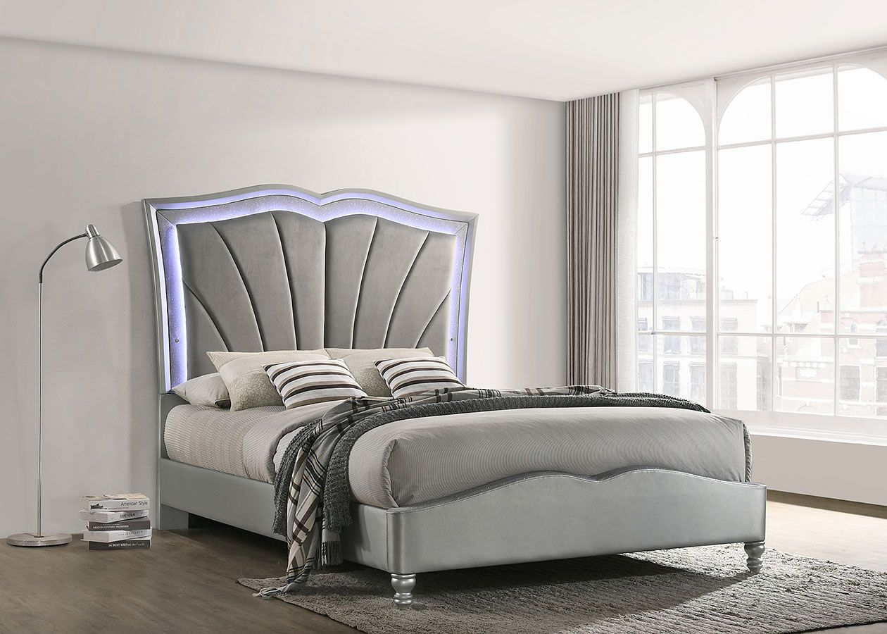 Bowfield Upholstered Bed W Led Lighting In 2020 Queen Bedding