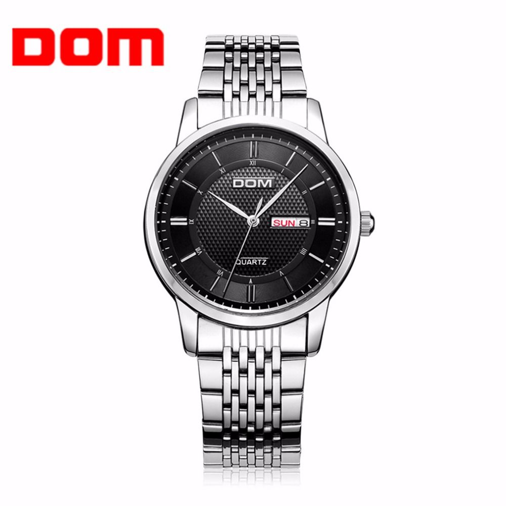 7733ee846f watch DOM Causal Men Wrist Watch Luxury Business Waterproof Double Calendar Stainless  Steel Leather Strap Wrist Watch For Male