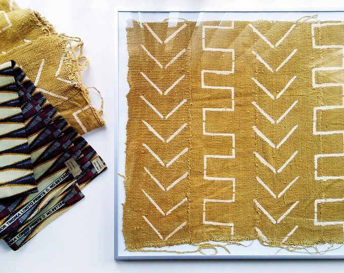 Mustard Gold Hand-dyed African Mudcloth Framed Wall Hanging, wall ...