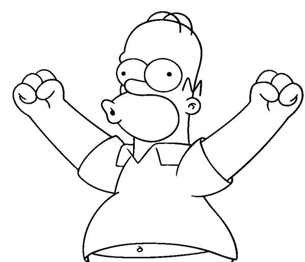 homer simpson coloring pages - the simpsons homer simpson excited to do something in