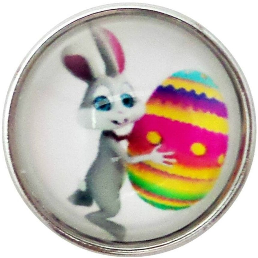 """Chunk Snap Charm Easter Bunny and Egg Glass Cover 20mm, 3/4"""" Diameter"""