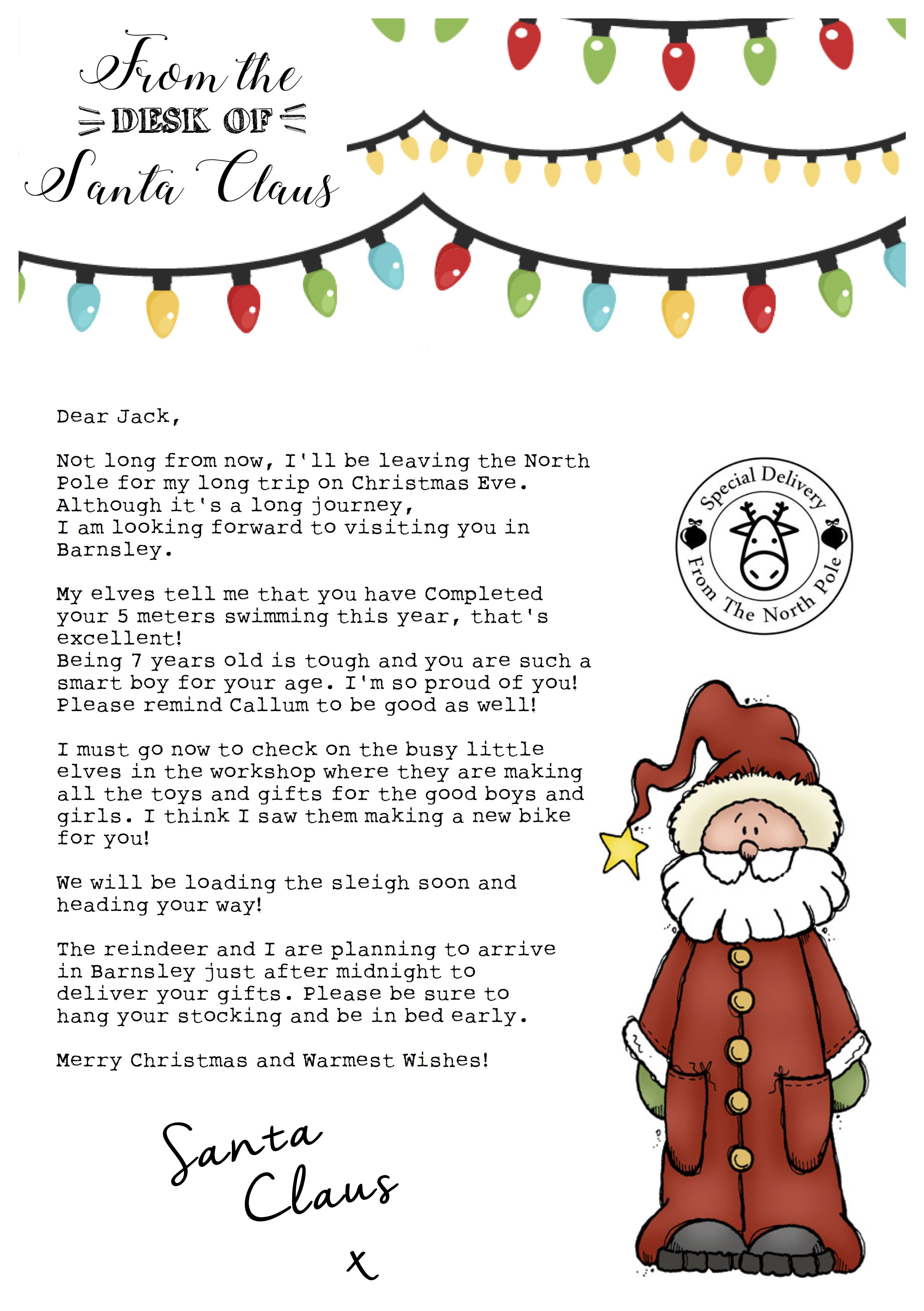 Personalised letter from Santa Claus Personalized