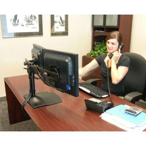 Soporte para 2 monitores ds100 ergotron sobre escritorio for Soporte monitor mesa