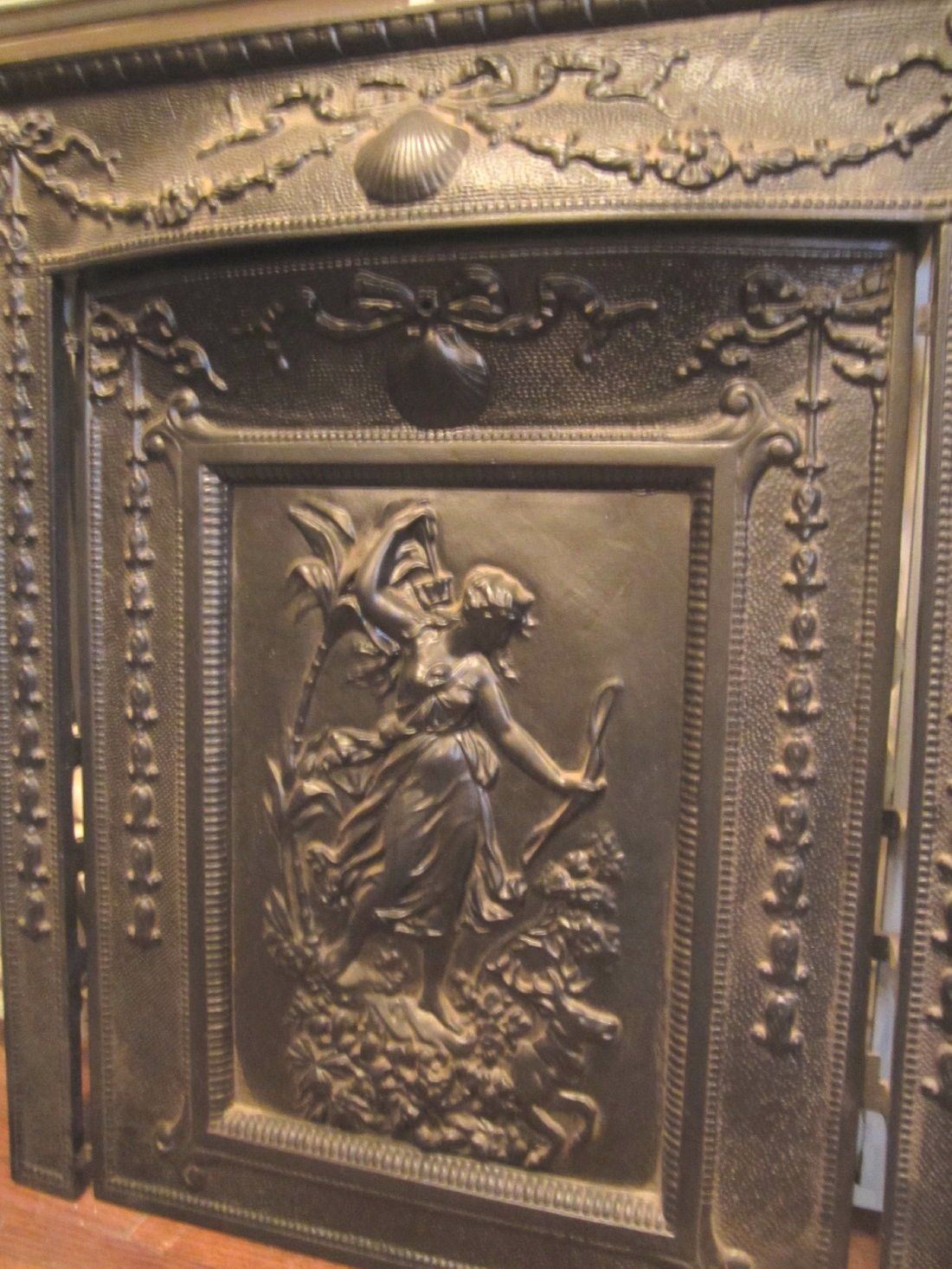 Antique 1885 Woman With Bow Fireplace Summer Cover With Surround