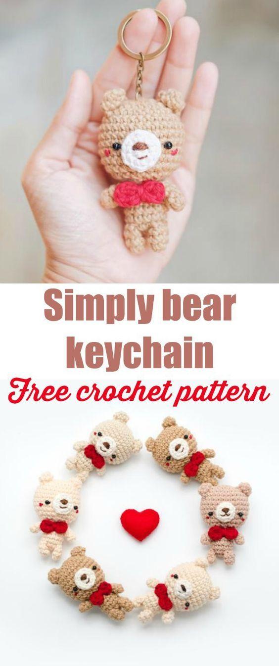 Free Crochet Keychain Pattern Simply Bear Amigurumi Haken