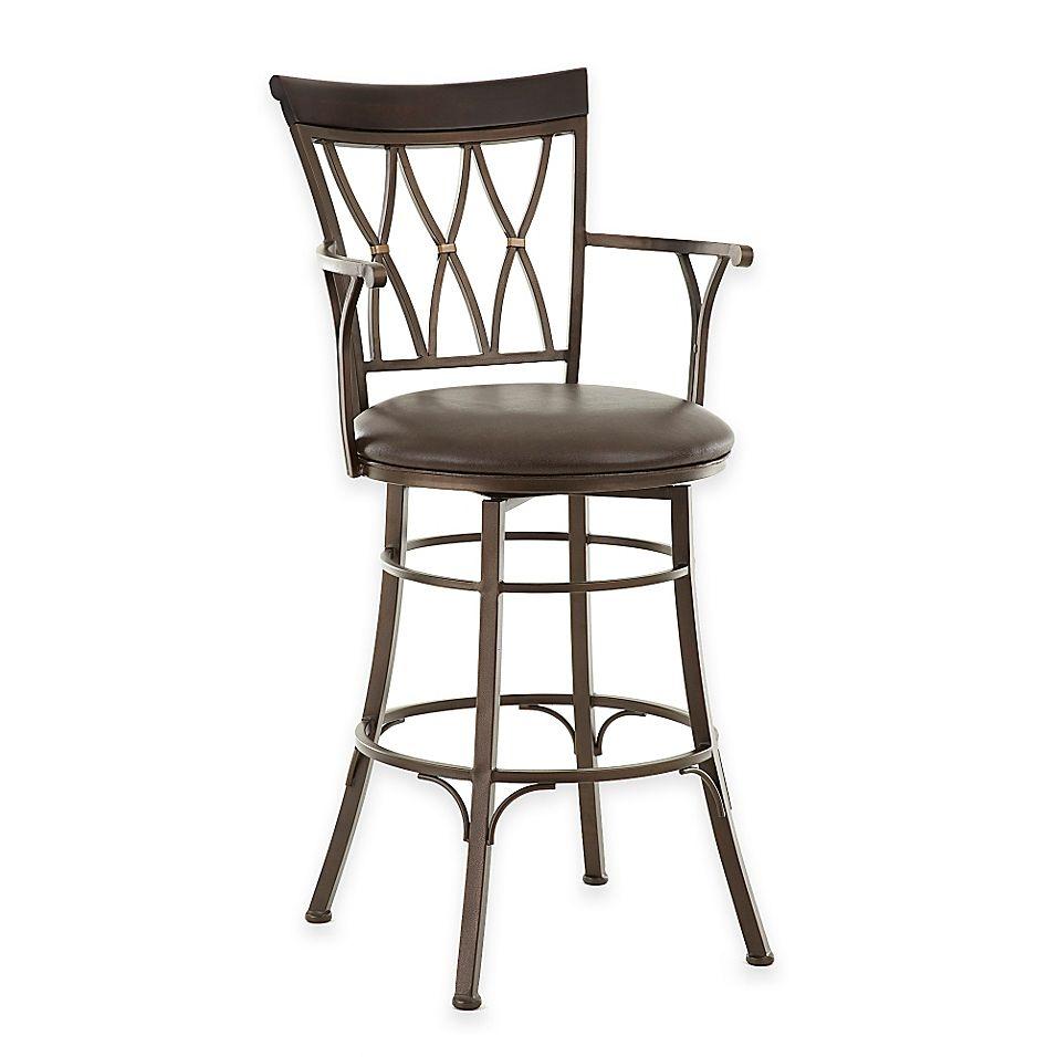 Steve Silver Bali Jumbo Swivel Bar Chair With Armrest Metal Swivel Bar Stools Upholstered Bar Stools Bar Stools
