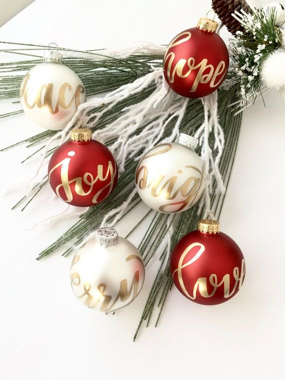 Red and White Ornament SET Christmas Ornament by Pinklettersshop