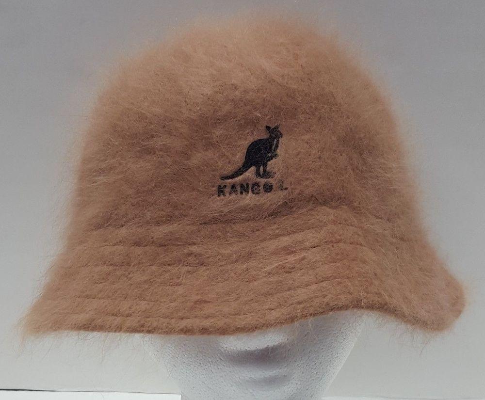 KANGOL Angora Bucket Hat Beige One Size Kangaroo Logo  Kangol  TrilbyBucket 93be9eb27105