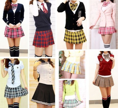 c2f6ddcf02 Pleated Plaid Mini Skirt Pretty School Girl Marine Look Flair Uniform  Custom Made L These are Asian sizes | eBay