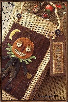 Pumpkin Man-PrimiTive Original Wool Applique Halloween Folk Art Bag Door Hanger  | eBay!