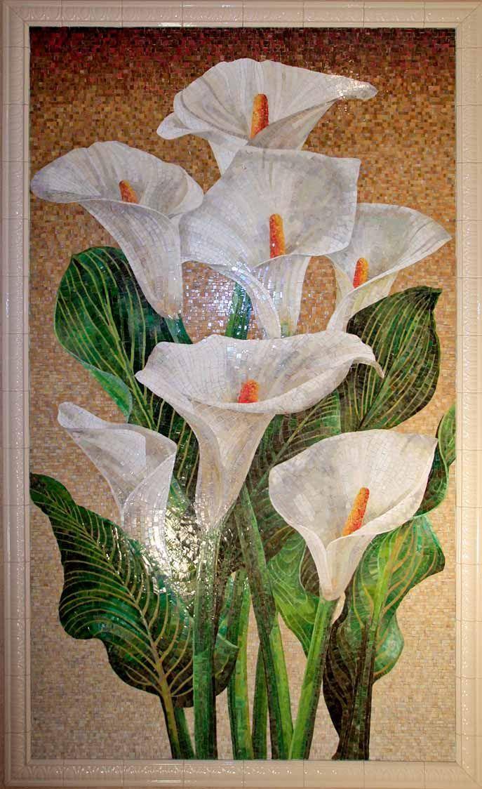 Панно из мозаики Свадебные цветы