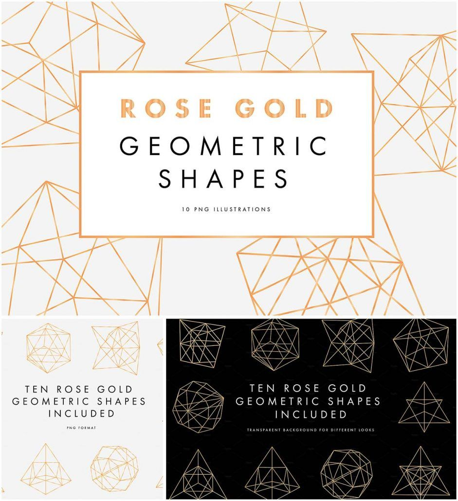 Description: Set of 10 png rose gold geometric shapes for ...
